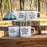 HAPPY CAMPER OUTDOOR ADVENTURE CERAMIC 4-PIECE RUSTIC MUG SET - Microwave and Dishwasher Safe (Black & White)