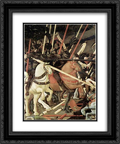 Battle of San Romano (Detail) 28x34 Black Ornate Frame and Double Matted Museum Art Print by Uccello, Paolo