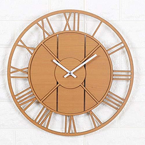 33.5 cm Reloj de Pared de Madera Vintage Decorativo Moderno con Números Romanos Reloj de Cuarzo Silencioso Sin Tictac Funciona con Pilas para Sala de Estar Dormitorio y Cocina Decoración B,33.5cm