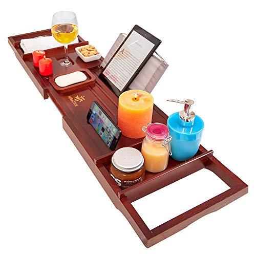Hightfix - Bandeja para bañera de bambú con Soporte para Tableta, Bandeja para teléfono móvil y Soporte para Copas de Vino, Lados Extensibles