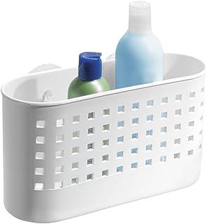 iDesign valet de douche, grand panier de douche en plastique sans perçage, panier de rangement avec ventouses pour douche,...