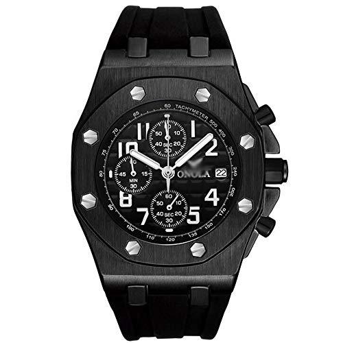 ZSDGY Reloj de Moda para Hombre, Reloj de Cuarzo Multifuncional Impermeable de Silicona B