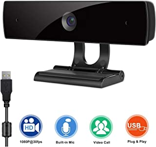 Webcam with Microphone,HD 1080P Webcam USB Computer Camera for Live Streaming Webcam,110 Degrees Wide-Angle 30fps for Laptop, Desktop, Conferencing, Video Chatting