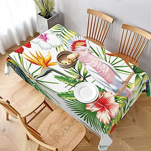 Mantel Rectangular,Tropico esotico Multicolore uccelli pappagallo,Manteles Lavable Antimanchas de Mantel para jardín Habitaciones decoración de Mesa 152x228cm