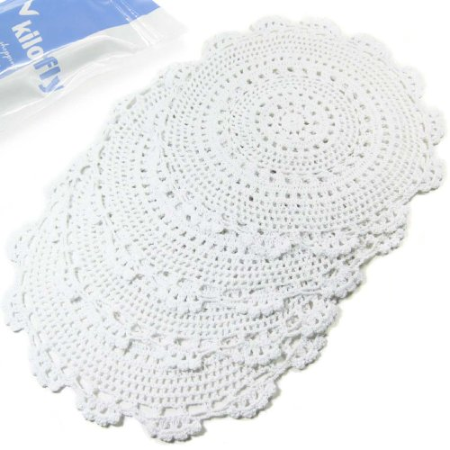 kilofly Handmade Crochet Round Cotton Lace Table Placemats Doilies Value Pack...