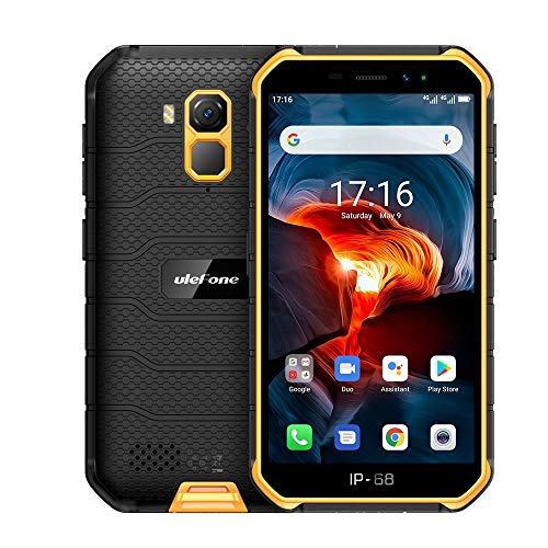 4G頑丈な携帯電話(2020)、Ulefone Armor X7 PRO Android 10屋外スマートフォンIP68、4000mAhバッテリー、防水水中写真、MT6761クアッドコア4GB + 32GB、DUAL SIM/NFC、顔認証 (黄)