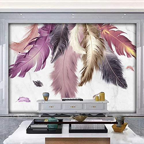 3D behang moderne creatieve marmeren veer muurschildering woonkamer TV sofa slaapkamer woondecoratie luxe behang 3D-400 * 280cm