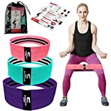 Resistance Bands, Non-Slip Exercise Loop Bands for Hips and Resistance Levels for Butt, Legs and Whole Body Work Out, Strong Fitness Bands for Pilates, Back Stretcher (Blue-Pink-Purple)