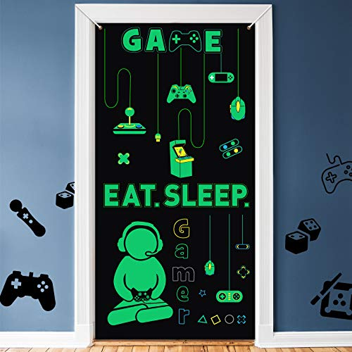 Gamer with Controller Wall Decal Video Game Door Covers for Game Birthday Party Backdrop Video Game Party Supplies, Eat Sleep Game Wall Decoration Playroom Door Banner Decor Green