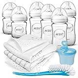 Philips Avent Flaschen Starter Set Glas - 6 Baby Glasflaschen (240/120 ml) mit Naturnah Sauger und Anti Colik Ventil, Milchpulverportionierer, Flaschenbürste und 3er Pack Mullwindeln