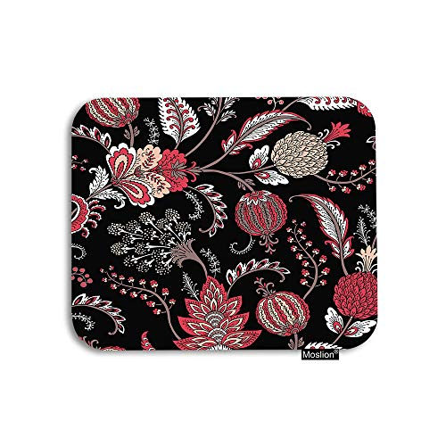 Moslion Paisley Mouse Pad Vintage Fantasy Flower Bohemian Floral Leaves Gaming Mouse Pad Rubber Large Mousepad for Computer Desk Laptop Office Work 7.9x9.5 Inch Black Red