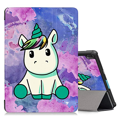 ZhuoFan Case for Lenovo Tab E10 (TB-X104F) 10.1' Tablet, Leather Slim Lightweight Shockproof Holder Stand Protective Cover Shell with Magnetic Adsorption, Auto Wake/Sleep, Unicorn