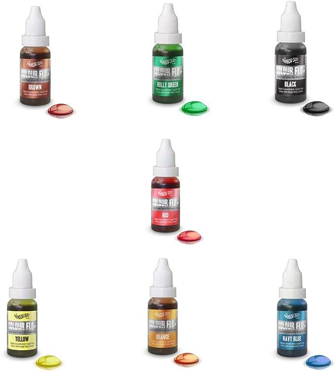 COLOR FLO - 7 X Colorantes líquido alimentario muy concentrado para aerógrafo, mezclas de azúcar, cremas, pasteles (Marrón, verde, rojo, negro, ...