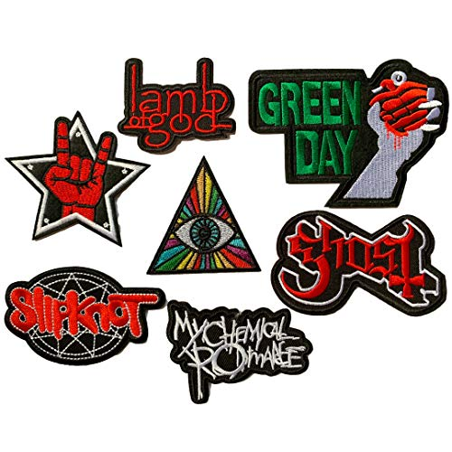 Set Patch of Iron on Patches #5, Heavy Metal Rock Music Band Patches Rock Roll Applique Embroidered Badge Punk Hippie for T-Shirts, Jackets, Shoes, Backpack Clothes Patches by Nesar