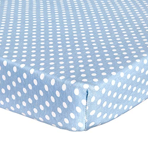 """Fitted Crib Sheets for Portable Crib – Super Soft, 100% Jersey Cotton – 24"""" x 38"""" – for Boys and Girls, Fits Mini Mattresses and Toddler Beds - Covered Elastic Hem – Blue Polka Dot – by Abstract"""