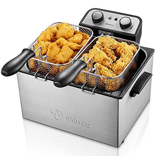 Deep Fryer with Basket, M Minca 1800W Electric Deep Fryer with Timer, Stainless-Steel Triple Basket, 4 Liter Oil Capacity