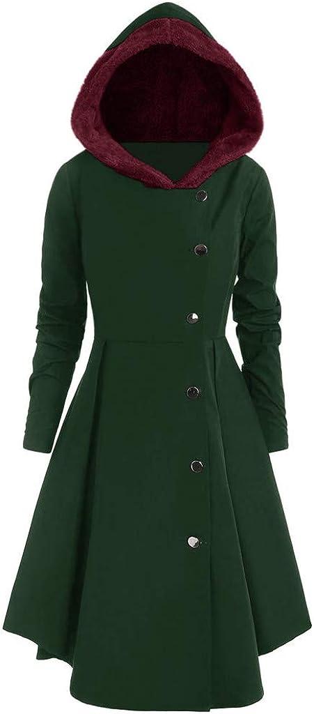 TRENDINAO Women Duffle Coat with Faux Fur Hood, Plus Size Single Breasted Long Drap Winter Skater Dress Coats