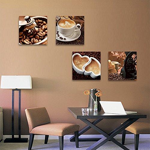 CrmOArt - café Grain de café Tasse giclée Impressions sur Toile Wall Art Decor encadré prêt à accrocher - 4 Panneaux Modernes œuvres d'art Peinture pour la Cuisine à Manger décoration de la Maison
