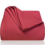 LAYNENBURG Premium Tagesdecke 220 x 240 cm XXL - Waffelpique 100prozent Baumwolle - leichte Sommerdecke - Baumwolldecke als Bett-Überwurf, Sofa-Überwurf, Couch-Überwurf - luftige Sofa-Decke (Bordeaux)