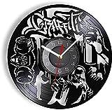 KDBWYC El Reloj de Pared Moderno Reloj de Pared de Graffiti se le da a la Juventud enérgica por el Disco de Vinilo Real Pintura en Aerosol Segway Cut LP Reloj de Pared