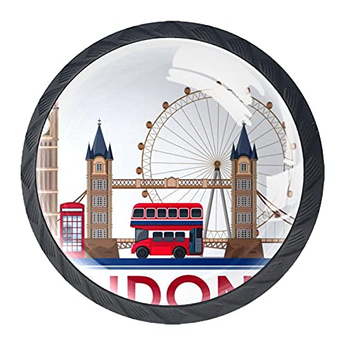Londres Landmark sobre fondo blanco, 4 unidades de pomos modernos redondos para oficina, hogar, cocina, baño