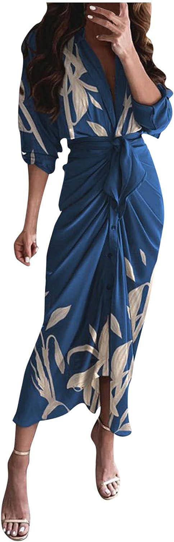 Womens Casual Dresses Midi Length Cardigan Tie Waist Button Solid Dress Long Roll Tab Sleeve Office Dress
