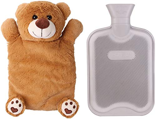 HomeTop Premium Classic Rubber Hot or Cold Water Bottle with Cute Stuffed Animal Cover (2 Liter, Gray)