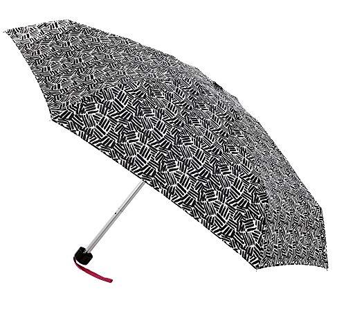 Paraguas Vogue ultramini. Tres Estampados en Blanco y Negro. Cerrado sólo Mide 18 cm. Ligero, antiviento y Acabado Teflón (Blanco y Negro Rayas)