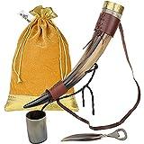 MENTHOME Viking Polished Drinking Medieval Norse Style Horn Mug with Metal Stand and Brown Belt   Horn Shot Glass   Bottle Opener   Golden Gift Bag   20 Oz. (Horn with Belt)