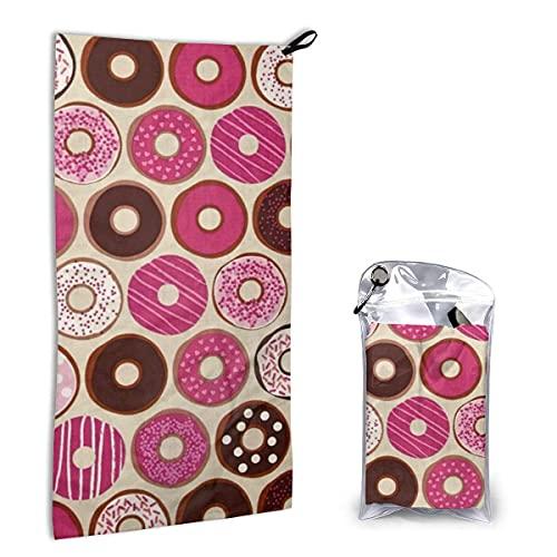 Toallas de Playa de Secado rápido Confecciones Donuts Rosa Fresa,Toallas de Playa sin Arena Toalla de baño portátil Toalla de Playa de Viaje,Toalla para Deportes de natación