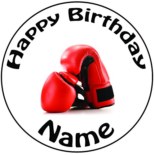 Decoración para tarta para personalizable de boxeo guantes–un precortado redondo 8