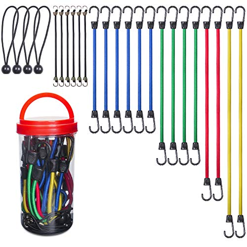 """EFFICERE 24-Piece Premium Bungee Cord Assortment in Storage Jar - Includes 10"""", 18"""", 24"""", 32"""", 40"""" Bungee Cords and 8"""" Canopy/Tarp Ball Ties"""