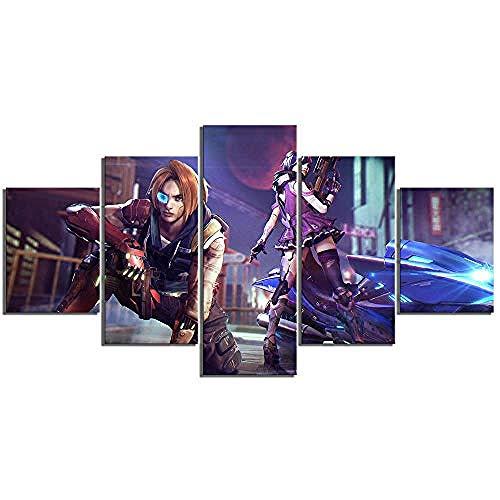 5 piezas de lienzo Cuadro compuesto por 5 lienzos impresos en HD, utilizados para decoración del hogar y carteles Free Fire Battlefield con marco 100x55cm