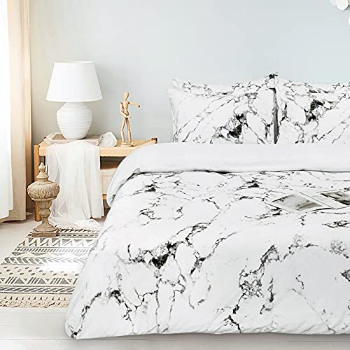 White Duvet Covers Queen Size Set, Ultra Soft Bedding Queen Duvet Cover 3 Pieces, 1 Duvet Cover & 2...