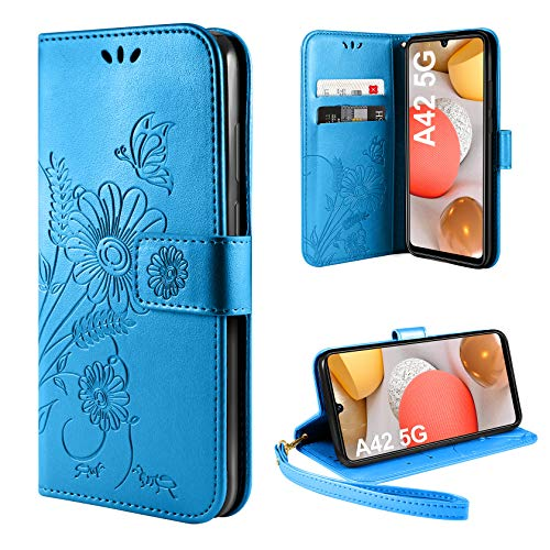 ivencase Handyhülle Kompatibel mit Samsung Galaxy A42 5G Hülle Flip Lederhülle, Handyhülle Book Hülle PU Leder Tasche Hülle & Magnet Kartenfach Schutzhülle (Blau)