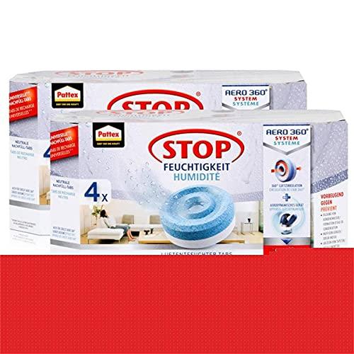Henkel Pattex Stop Feuchtigkeit Aero 360° Luftentfeuchter Nachfüllpack 4x450g Neutrale-Tabs - Vorbeugend gegen Feuchtigkeit, schlechte Gerüche und Schimmel (2er Pack)