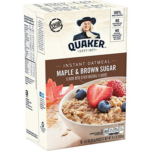 Quaker Instant Oatmeal Maple & Brown Sugar – 10ct