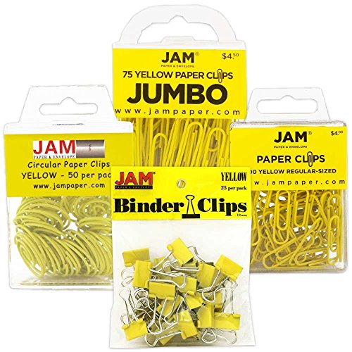 JAM PAPER Office Clip Assortment - Yellow - (1) Binder Clips (1) Round Paper Cloops and (2) Paper Clips (Regular & Jumbo) - 4/Pack