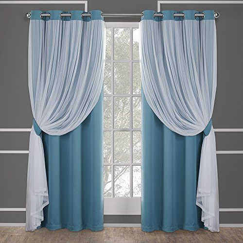 Exclusive Home Curtains Catarina Layered Solid Blackout and Sheer Window Curtain Panel Pair with Grommet Top, 52x108, Turquoise, 2 Count