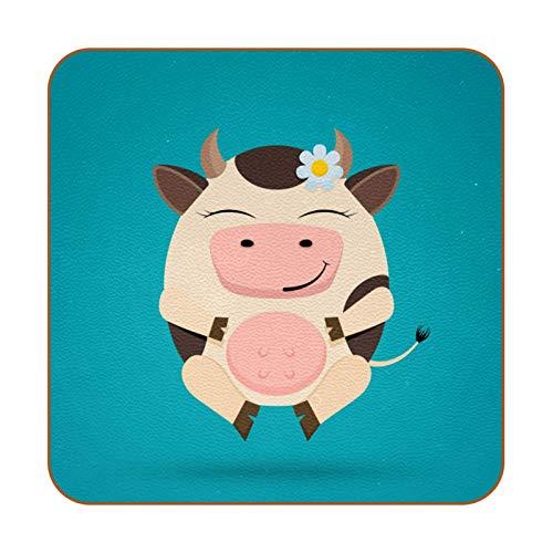 Juego de 6 posavasos con diseño de vaca divertido para bebidas, posavasos antideslizantes, respaldo para taza de café, vino, botella de vino o casa y bar