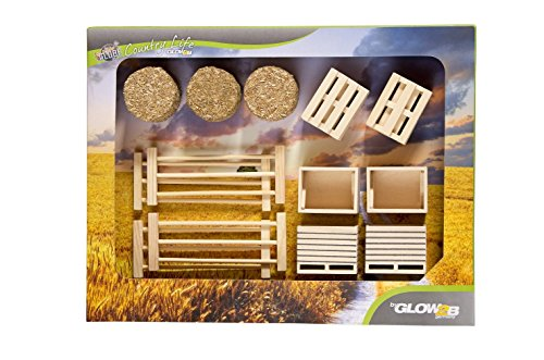 Unbekannt KidsGlobe 1000579 - Set mit Kisten, Paletten, Stroh und Zäune, Bauernhofzubehör, 17 Teile