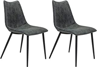Zuo Modern Norwich Dining Chair (Set of 2), Vintage Black, Channel Tufting and Top Stitching, Molded Back and Seat, 250 lbs Weight Capacity, Dimensions 18.1