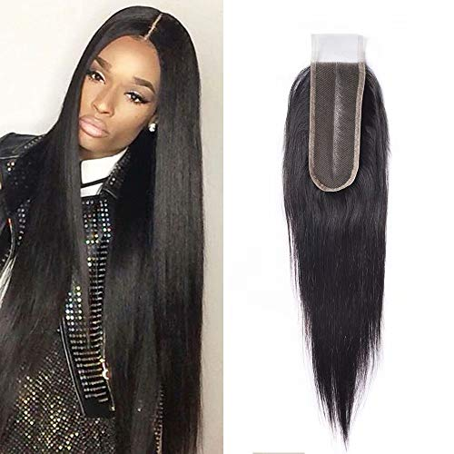 Maxine 2x6 Deep Middle Part Lace Closure Real Human Hair 9A Brazilian Virgin Remy Hair Unprocessed Silky Straight Closure with Baby Hair (10 inch£¬Natural Color)