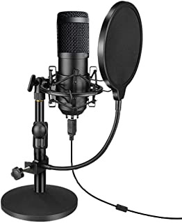 USB Streaming Podcast PC Microphone, Professional 192kHz/24bit Studio Cardioid Condenser Mic Kit with Sound Card Boom Arm ...