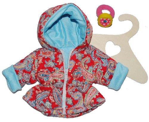Puppenkleidung Größe 28 - 35 Jacke Anorak Paisley Muster rot hellblau Winter Winterjacke rosa Mantel