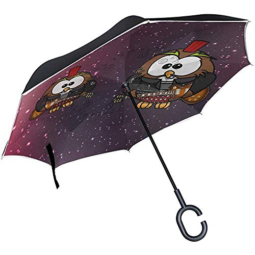 Mike-Shop Gitarre Black Cat Inverted Umbrella Compact Winddicht Auto Reverse UV-Schutz Reiseschirme