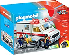 Children can use the Rescue Ambulance to help transport patients Lights and sirens really work for realistic play experience Figures can bend, sit, stand and turn their heads Encourages children to explore and learn while having fun Includes three fi...