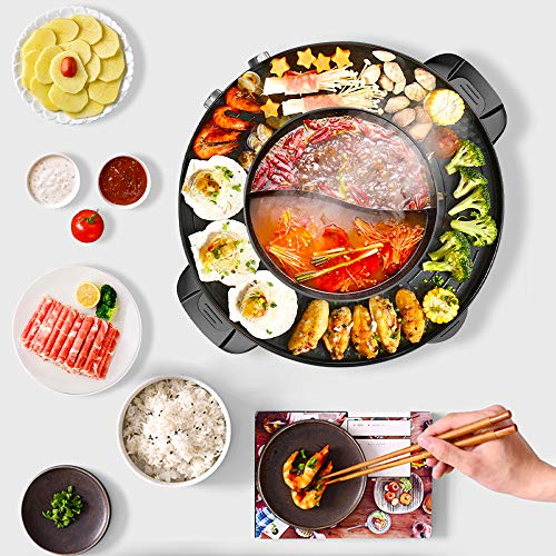 TOPQSC Elektrogrill und Hot Pot 42CM 2 in1 Multifunktion Doppelte Trennung Korean Barbecue Hot Pot, Keramische Beschichtung Elektrischer Rauchfreier Grill im Innenbereich für einfache (schwarz-1)