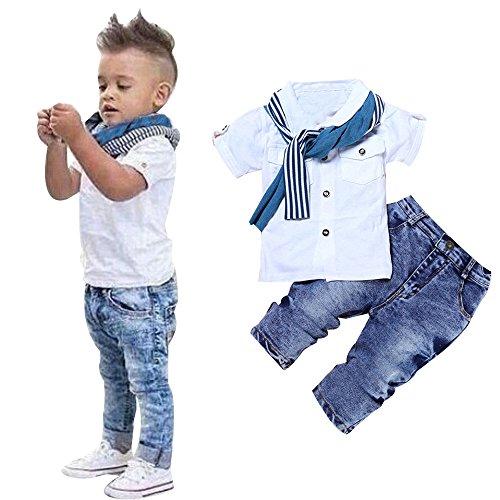 Battnot Baby Jungen Bekleidungssets 3tlg Sets Kurzarm T-Shirt Tops+Schal +Denim Lange Jeanshosen 3er Neugeborene Sommer Solide Outfits Knöpfe, 2-5 Jahre Kleinkind Kinder Boys Gentleman Kleidung