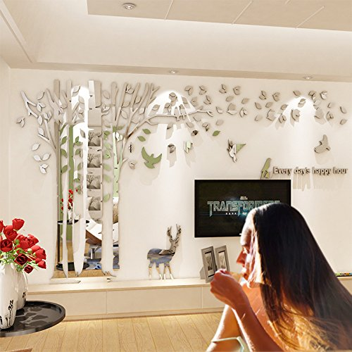 JYSPT DIY 3D Huge Forest Tree Wall Stickers Crystal Acrylic Wall Decals Wall Murals Home Decorations Arts for Home Decoration Living Room Bed Room ¨ Silver Left, L